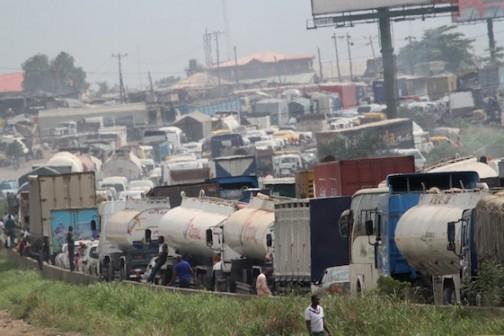 Gridlock on the Lagos Ibadan Expressway as a result of the fallen tanker at Asese Ibafo, Ogun State Photo: Idowu Ogunleye