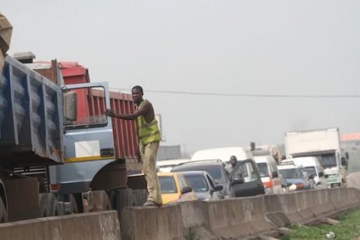 Gridlock on the Lagos-Ibadan Expressway as a result of the fallen tanker at Asese Ibafo, Ogun State Photo Credit: Idowu Ogunleye