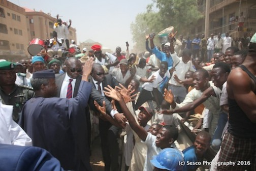 Prof Yemi Osinbajo was almost mobbed in Kano by the joyous residents