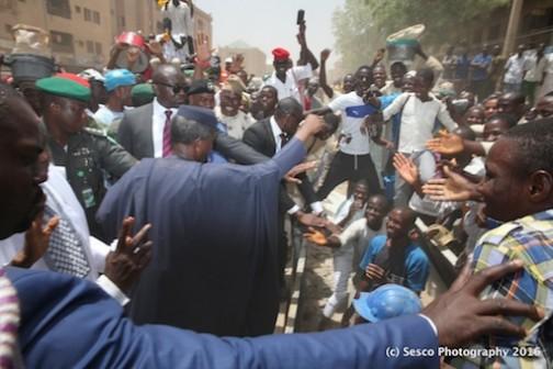 Prof Yemi Osinbajo acknowledging the cheers of the rapturous citizens of Kano