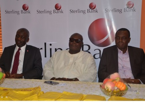 L-R: The bank's Executive Director, Corporate Banking, Mr. Kayode Lawal, LAWMA's Executive Chairman, Mr. Olumuyiwa Adejokun and LAWMA's General Manager, Engr. Abdulwahab Ogunbiyi, during the presentation of rain jacket to LAWMA by the Sterling bank recently