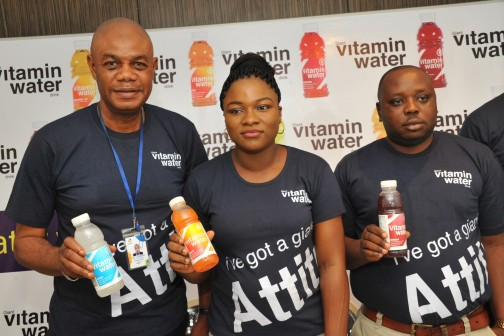 L – R Mr. Eke Leonard, Regional Sales Manager South-South/ East, Mrs. Bose Ogunyemi, Marketing Manager and Mr. Emmanuel Akpah, Regional Sales Manager Lagos/South-West, all of Giant Beverages Limited at the event.