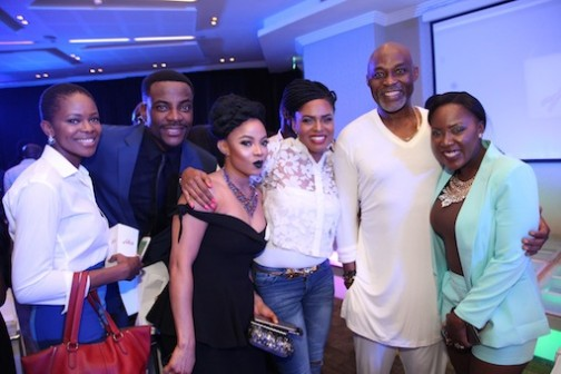 Richard Mofe-Damijo (2nd R) flanked by other stars