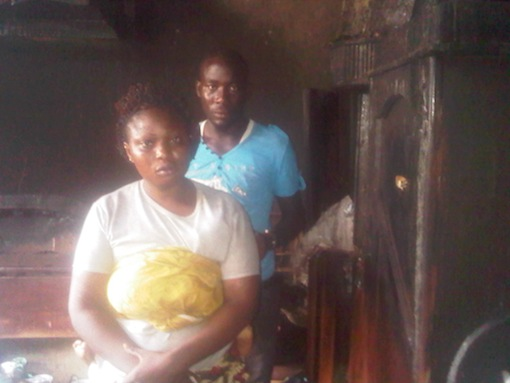 Shakiru and wife inside the apartment set ablaze by their landlady