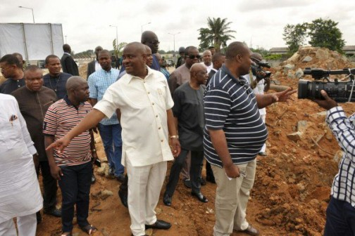 Wike (2nd left) inspecting projects in Rivers State