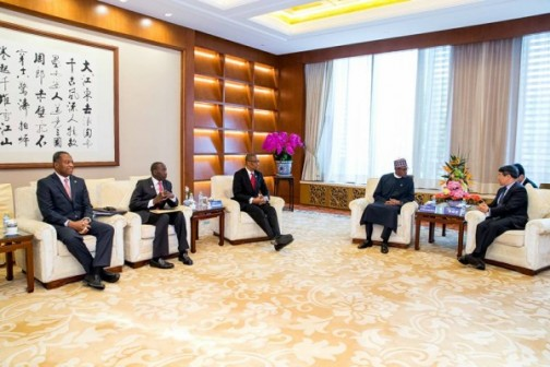 President Buhari with Mr Xu Shaoshi Chairman of National Reform and Development Commission shortly before the official opening ceremony. With them are Minister of Industry, Trade & Investment Okechukwu Enemalah, National Security Adviser Babagana Monguno and Minister of Foreign Affairs, Geoffrey Onyeama