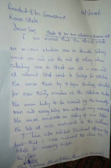 letter of Dr. Allwell Egeonu, the Collating officer of Ikwerre LGA