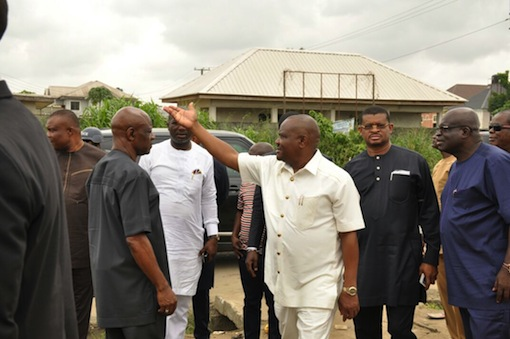 Wike along with others during the project inspection
