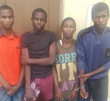 The arrested suspects: Henry Ajie, 23; Bright Ajie ,22; Dadison Ogadima, 22 and Sampson Dibia, 30