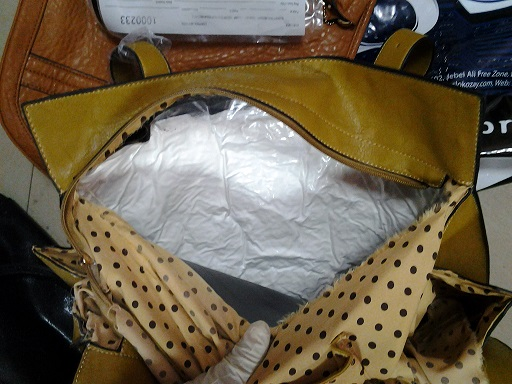 A file copy of cocaine discovered in a handbag
