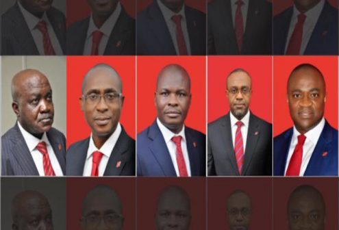 UBA Executive Directors: L-R: Ibrahim Puri, Chuks Nweke, Ayo Liadi, Uche Iken and Oliver Alawuba