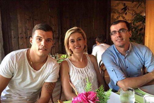 Granit Xhaka's (L) move to Arsenal is set to be finalised, according to close friend and journalist Artan Muhaxhiri (R)