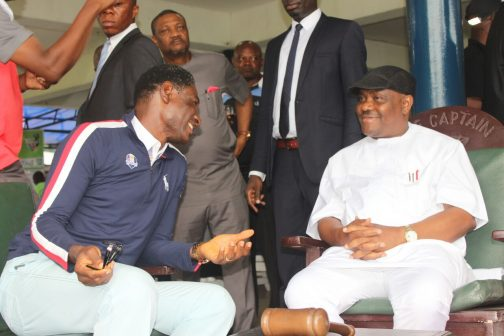 From Right: Rivers State Governor, Nyesom Ezenwo Wike and Captain  of the Port Harcourt Club  (Golf Section ), Mr Emmanuel Okene during the West African Golf Tournament in Port Harcourt on Sunday