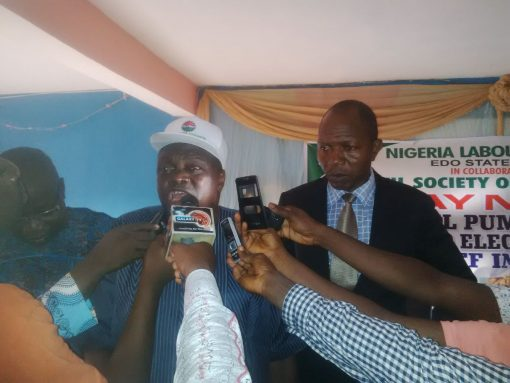 Edo State NLC chairman, Comrade Emmanuel Ademokun, addressing journalists