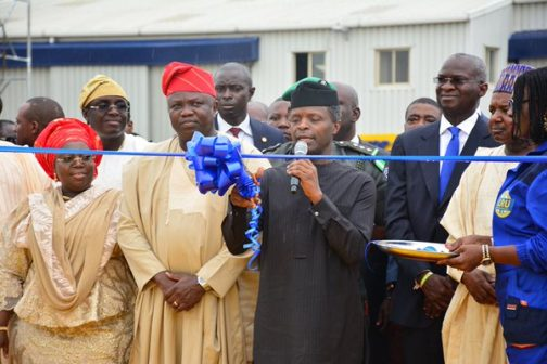R-L: Lagos State Governor, Akinwunmi Ambode, with Vice President, Prof. Yemi Osinbajo and Kebbi State Governor, Alhaji Atiku Bagudu during the commissioning and handing over of Patrol Vans, Power Bikes and other security kits to Security Agencies in the State, at the Tafawa Balewa Square, Lagos on Monday, May 23, 2016