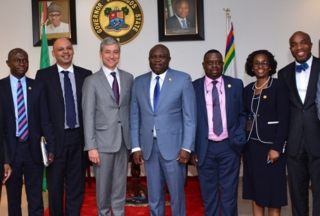 L-R: Lagos State Governor, Mr. Akinwunmi Ambode (middle), in a group photograph with Commissioner for Energy & Mineral Resources, Mr. Wale Oluwo; Executive Business Director, Microsoft International, Mr. Cassey Macgee; President, Microsoft International, Mr. Jean-Philippe Coutois; Commissioner for Science & Technology, Mr. Olufemi Odubiyi; Solicitor General/Permanent Secretary, Ministry of Justice, Mrs. Funlola Odunlami and Commissioner for Finance, Dr. Mustapha Akinkunmi during a courtesy visit to the Governor by Microsoft International, at the Lagos House, Ikeja on Monday, May 16, 2016.