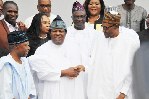 PRESIDENT BUHARI MEETS PUBLISHERS 3.. R-L;  President Muhammadu Buhari, MD/CEO NAN, Mr Bayo Onanuga, Chairman of New Telegraph, Alhaji Idi Faraouk and other members of the Newspaper Proprietors Association of Nigeria at the State House in Abuja. PHOTO; SUNDAY AGHAEZE/STATE HOUSE. MAY 27 2016