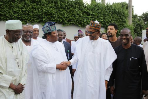 PRESIDENT BUHARI MEETS PUBLISHERS 5.; R-L; Publisher Daily Times, Mr. Fidelis Anosike, President Muhammadu Buhari, Publisher/Editor-in-Chief Thisday and President, NPAN, Mr Nduka Obaigbena, Chairman, New Telegraph, Alhaji Idi Farouk and Publisher, Peoples Daily, Mallam Wada Maida and other members of the Newspaper Proprietors Association of Nigeria at the State House in Abuja. PHOTO; SUNDAY AGHAEZE/STATE HOUSE. MAY 27 2016..