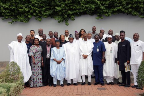 PRESIDENT BUHARI MEETS PUBLISHERS 6.; President Muhammadu Buahri (M) flanked by SA on Media to the President Mr. Femi Adesina and Publisher/EDITOR-IN Chief Thisday and President NPAN, Mr Nduka Obaigbena and other members of the Newspaper Proprietors Association of Nigeria at the State House in Abuja. PHOTO; SUNDAY AGHAEZE/STATE HOUSE. MAY 27 2016.