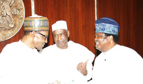 PRESIDENT BUHARI MEETS PUBLISHERS 8B. L-R; Prsident Muhammadu Buhari, NPAN Past President and Life Patron, Alhaji Ismaila Isa Funtua and Publisher/EDITOR-IN Chief Thisday and President NPAN, Mr Nduka Obaigbena during a meeting with members of the Newspaper Proprietors Association of Nigeria at the State House in Abuja. PHOTO; SUNDAY AGHAEZE/STATE HOUSE. MAY 27 2016.