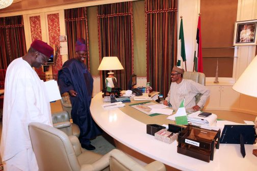 PRESIDENT BUHARI RECEIVES OGUN GOV 1. President Muhammadu Buhari (sitting Right) receives the Executive Governor of Ogun State, Senator Ibikunle Amosun and with them is the Chief of Staff to the President Mallam Abba Kyari in his at the State House in Abuja. PHOTO; SUNDAY AGHAEZE/STATE HOUSE. MAY 23 2016.
