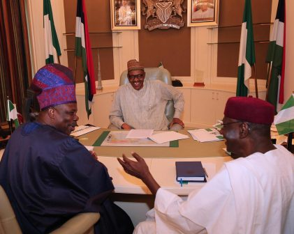 PRESIDENT BUHARI RECEIVES OGUN GOV 1. President Muhammadu Buhari (M) receives the Executive Governor of Ogun State, Senator Ibikunle Amosun and with them is the Chief of Staff to the President Mallam Abba Kyari in hisOffice at the State House in Abuja. PHOTO; SUNDAY AGHAEZE/STATE HOUSE. MAY 23 2016