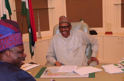 PRESIDENT BUHARI RECEIVES OGUN GOV 2. President Muhammadu Buhari (R) receives the Executive Governor of Ogun State Senator Ibikunle Amosun in his office at the State House in Abuja. PHOTO; SUNDAY AGHAEZE/STATE HOUSE. MAY 23 2016.