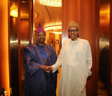 PRESIDENT BUHARI RECEIVES OGUN GOV 3. President Muhammadu Buhari (R) receives the Execitive Governor of Ogun State Senator Ibikunle Amosun in his Office at the State House in Abuja. PHOTO; SUNDAY AGHAEZE/STATE HOUSE. MAY 23 2016