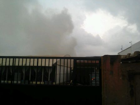 MTN warehouse at the back of Acme Road on fire Thursday afternoon