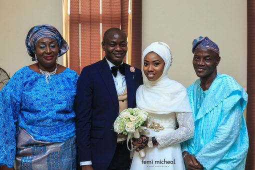 Picture: Yetunde Onisabi and  Damilola Huthman, with the parents of the groom, Lanre Huthman and the wife