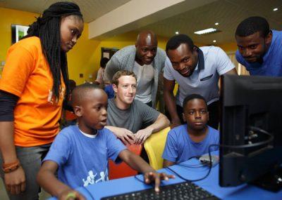 Mark Zuckerberg watching children displaying their expertise on Facebook