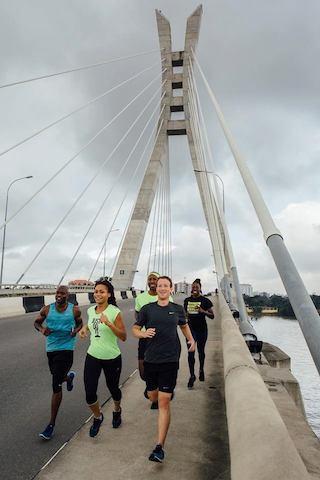 Mark Zuckerberg jogs in Lagos