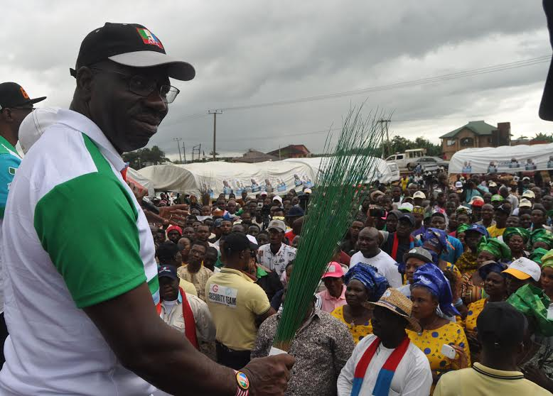 Mr. Godwin Obaseki, gubernatorial candidate > of the All Progressives Congress (APC) at a rally of the > party in Eyaen, Uhumwode Local Government Area on Monday > yesterday.