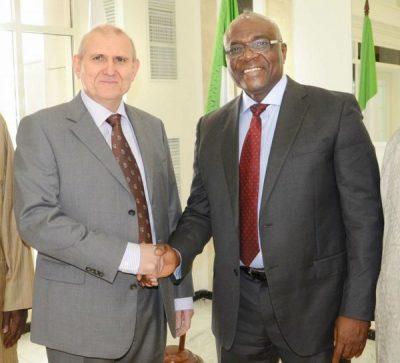 Ambassador Nikolay Udovichenko of Russia  and NAN managing director, Mr Bayo Onanuga
