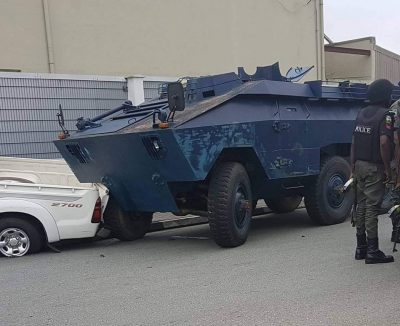 Police armoured personnel carrier at the Government House gate  on Wednesday, August 17
