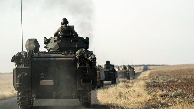 Turkey has massed tanks along its border with Syria. Source: AP
