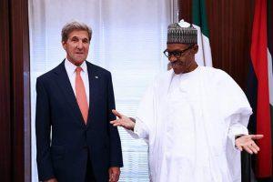 President Muhammadu Buhari (right) welcoming US Secretary of State John Kerry to Aso Rock