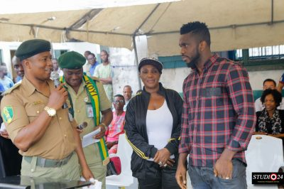 Chief Joseph Yobo (right) and some prison officials at the Ikoyi Prison during the launch of the Joseph Yobo Foundation Football Academy
