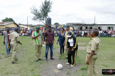 Chief Joseph Yobo (middle) and some prison officials at the Ikoyi Prison during the launch of the Joseph Yobo Foundation Football Academy
