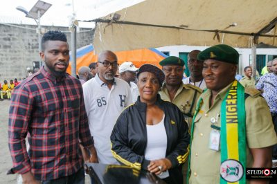 Chief Joseph Yobo (left) and some prison officials at the Ikoyi Prison during the launch of the Joseph Yobo Foundation Football Academy