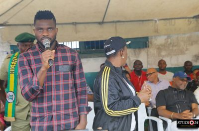 Chief Joseph Yobo (speaking) and some prison officials at the Ikoyi Prison during the launch of the Joseph Yobo Foundation Football Academy