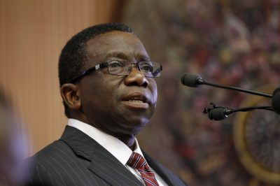 Nigeria's Minister of Health Isaac Folorunso Adewole attends an emergency National Council on Health meeting on the control of Lassa Fever in Abuja
