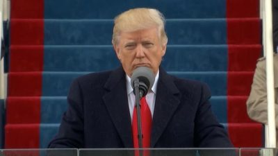 Trump delivering his speech on inauguration