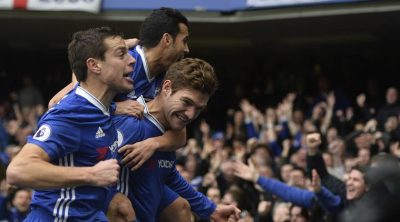 Chelsea's Marcos Alonso celebrates scoring their first goal with team mates