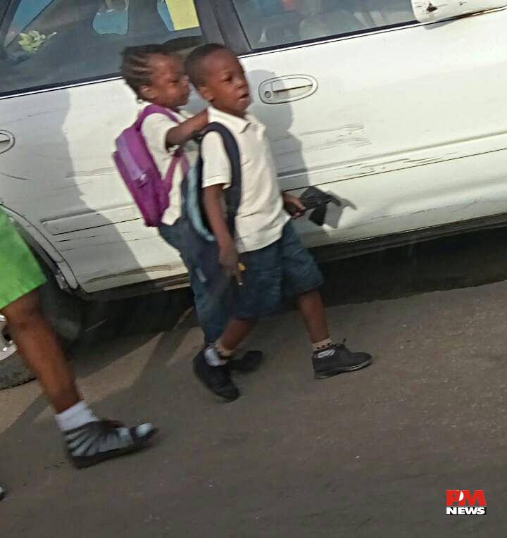 Kids going to school At Oshodi