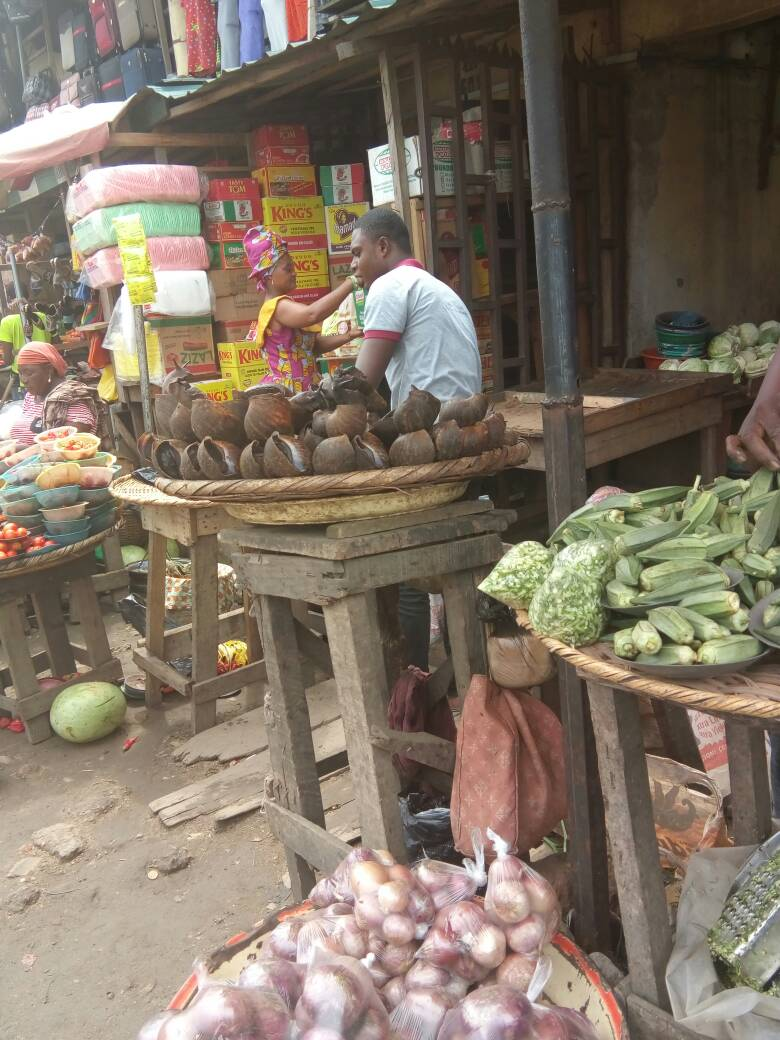 Food displayed at Bariga Market, Lagos.