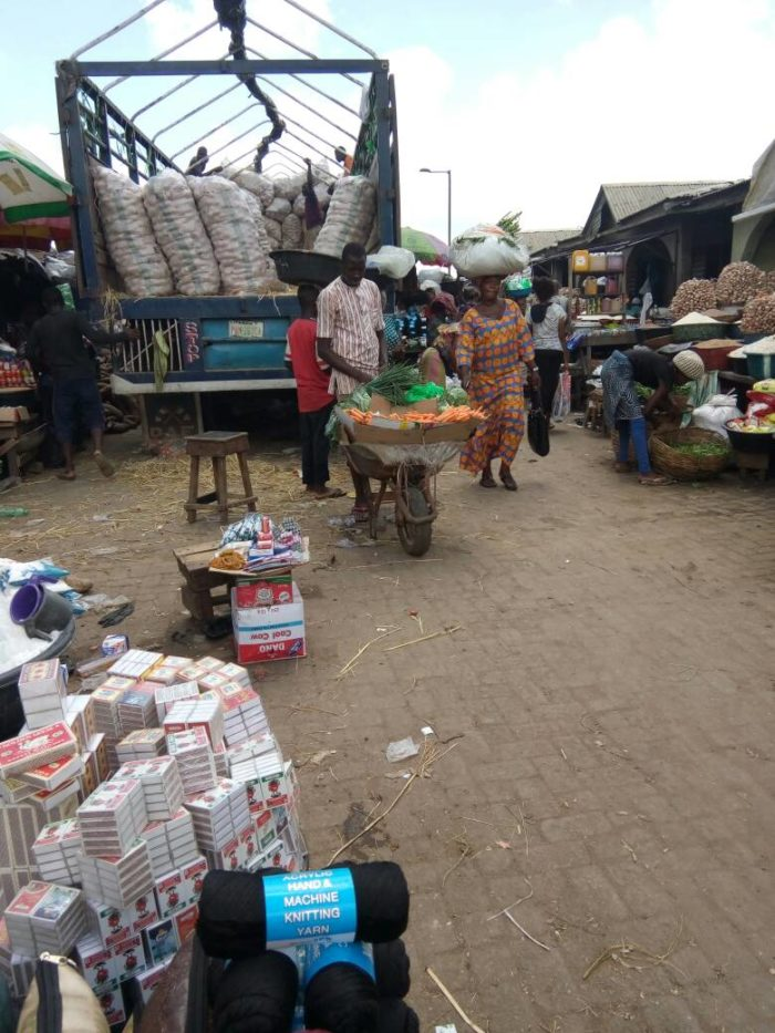 A lorry delivering goods to Traders at Ile Epo Market.
