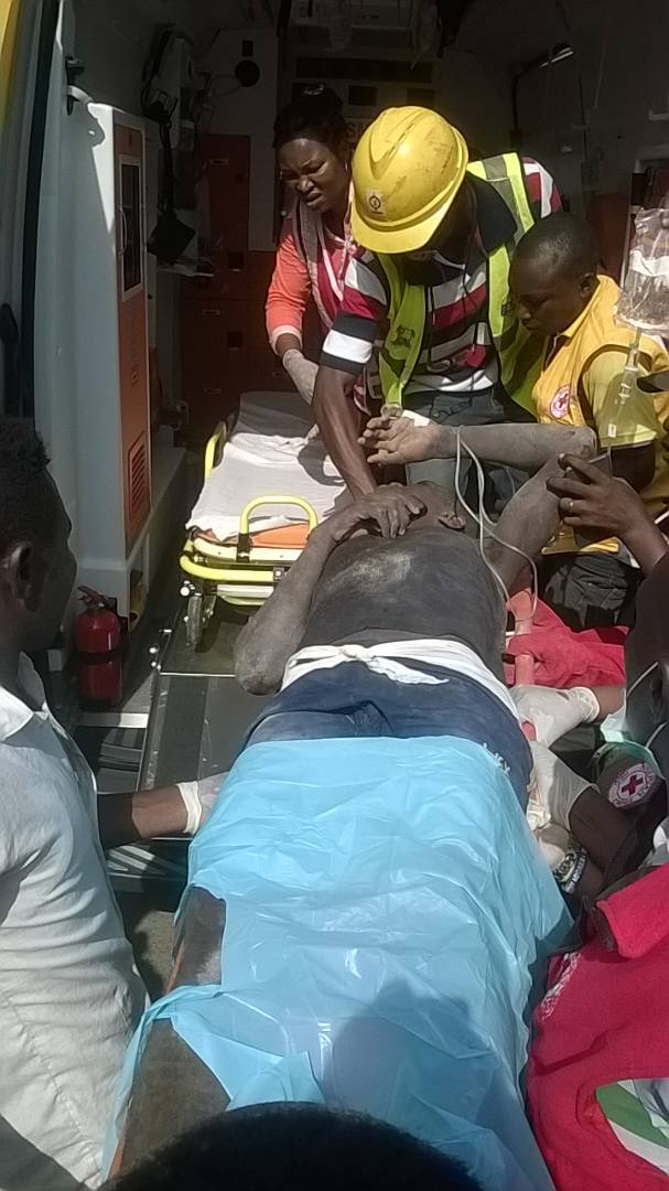 Rescued victim at the collapsed building at Ilasa, Lagos