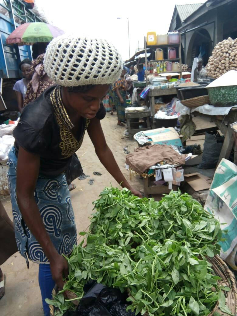 A vegetable seller marketing her wares at Ile-Epo Market.