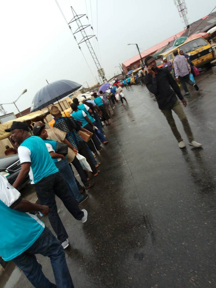 Workers queuing to enter the Agege Stadium for the May Day celebration this morning